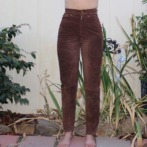 Vintage Brown Leather High Waisted Skinny Jeans